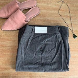 NWT Loft Grey Pinstripe Julie Curvy Trouser 14